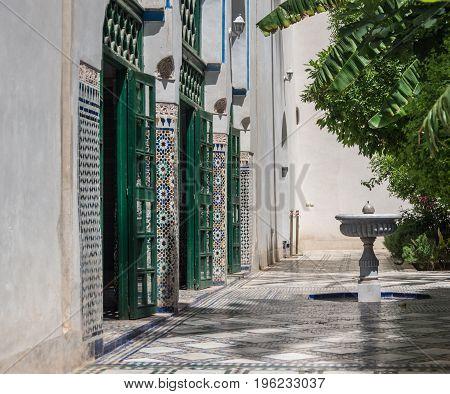 Fountain In Bahia Palace Courtyard. Marrakech, Morocco