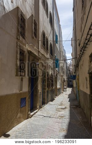 Narrow Street And Colorful Old Houses Of Medieval Medina Of Essaouira, Morocco
