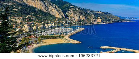 The Bay Of The Old Town Of Menton On The French Riviera