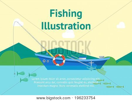 Cartoon Fishing Boat on Landscape Background Poster Card and Text Flat Design Style. Vector illustration