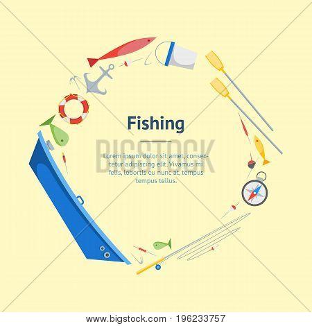 Cartoon Fishing Banner Card Circle Boat and Gear Set Flat Design Style. Vector illustration