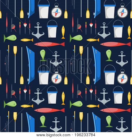 Cartoon Fishing Background Pattern on a Blue Boat and Gear Set Flat Design Style. Vector illustration