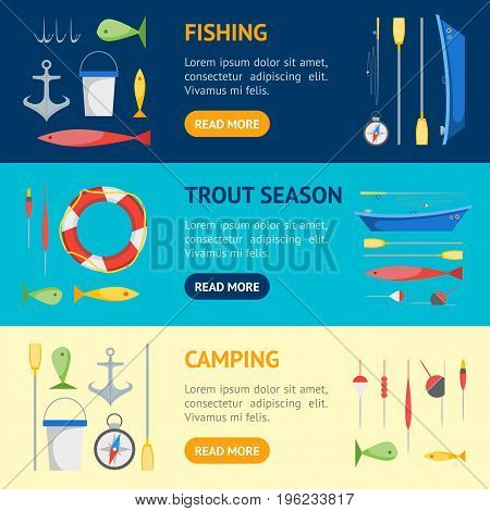 Cartoon Fishing Banner Horizontal Set Boat and Gear Flat Design Style. Vector illustration
