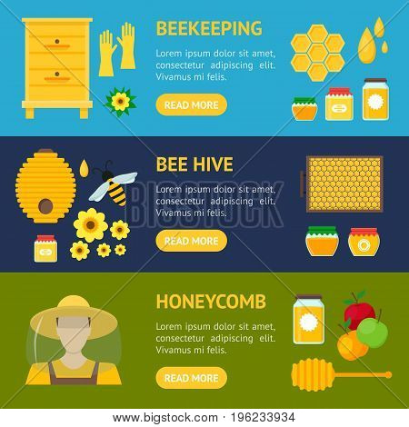 Cartoon Honey Banner Horizontal Set Beekeeping Farm Flat Design Style for Web or App. Vector illustration