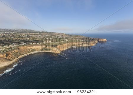 Pacific coast aerial view of Rancho Palos Verdes in Los Angeles County, California.