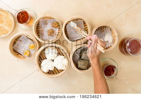 Top view of eating dim sum