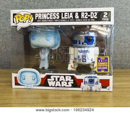 NEW YORK: JULY 20 2017 - San Diego Comic Con Exclusive Funko POP release of the Star Wars Princess Leia & R2D2 pack. SDCC Exclusive available only at GameStop & ThinkGeek stores