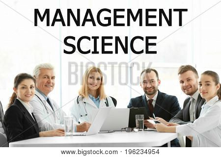 Concept of management science. People on business meeting in office