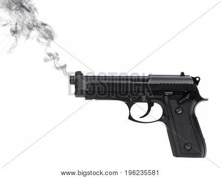Smoking gun on white background