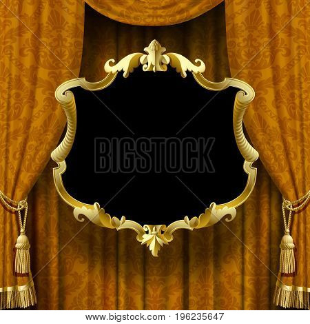 Yellow-brown curtain with baroque ornament and frame. Square vintage background with sign. Artistic poster