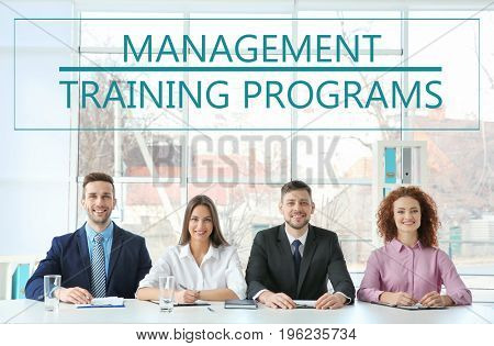 Concept of management training programs. People on business meeting in office