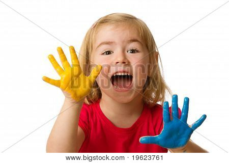 Little girl with hands painted