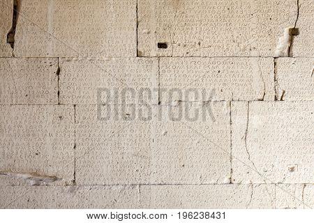 Ancient Greek inscription on stone slabs found in Gortyn (Gortys,  Gortyna), Crete, Greece