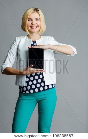 Girl on clean gray background,