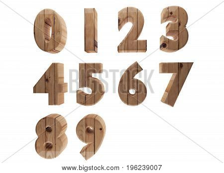 wooden number on white in 3D render image