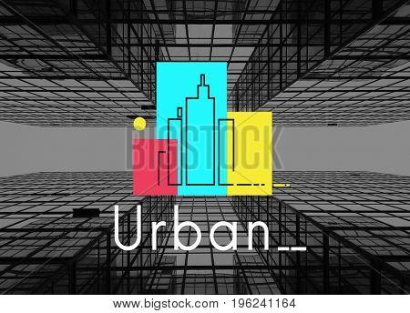 Illustration of concrete jungle urban scene city life