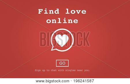 Find Love Online Valentines Romance Love Heart Dating Concept