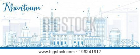 Outline Khartoum Skyline with Blue Buildings. Business Travel and Tourism Concept with Historic Architecture. Image for Presentation Banner Placard and Web Site