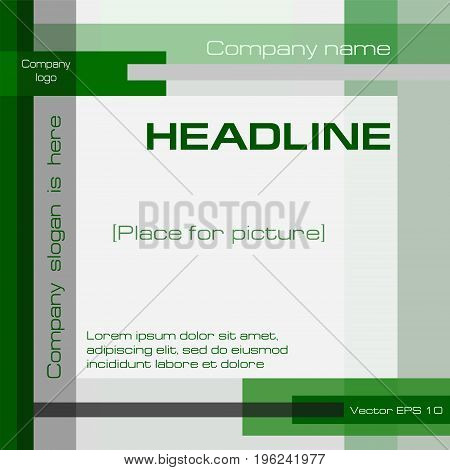 Square geometric background, modern technology template, green, gray. Layout cover design with text for annual report, business presentation, brochure, prospectus, poster. EPS10 vector illustration