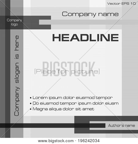 Monochrome geometric background, square technology template. Layout modern design with text: cover, magazine, brochure, annual report, business presentation, poster, booklet. EPS10 vector illustration