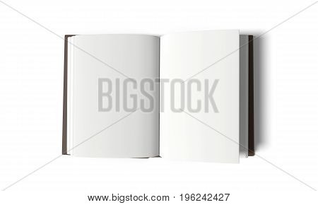 empty white book on isolated white background in 3D rendering