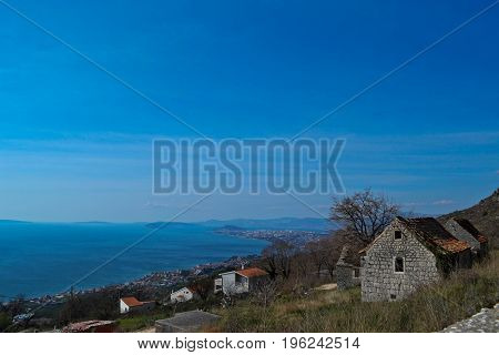 Old village house whit a panoramic view at sea and sky