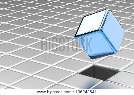 leadership concept with 3d rendering blue cubic pop up