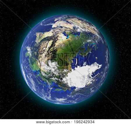 High resolution planet earth from space in 3D. Elements of this image furnished by NASA