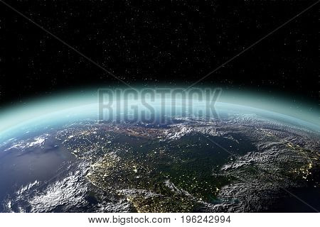 View of planet earth from space in 3D rendering. Elements of this image furnished by NASA