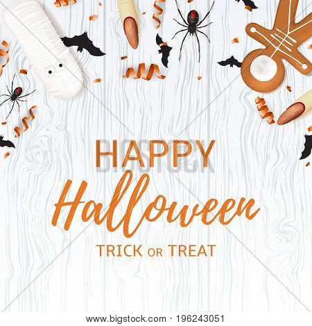 Festive background with treats for halloween. Top view on spiders, paper bats and confetti on wooden texture. Vector illustration with cookies in form of skeleton gingerbread man and serpentine.