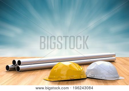 civil engineer concept with 3d rendering safety helmets and pipeline