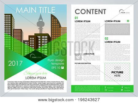 Vector Flyer, Corporate Business, Annual Report, Brochure Design And Cover Presentation With Green T