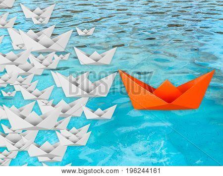 leadership concept with orange paper boat floating illustration