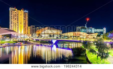 Adelaide Australia - April 16 2017: Adelaide city skyline illuminated at night viewed across Torrens river