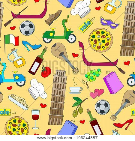 Seamless pattern on the theme of journey in the country of Italy simple color icons on yellow background