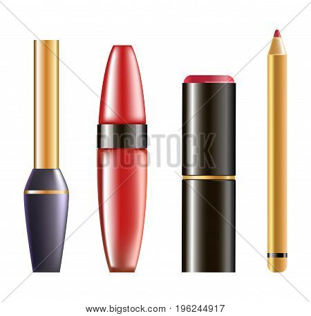 Convenient eyeliner, mascara in red bottle, red lipstick and lip pencil with gold cover isolated vector illustration on white background. Womens decorative cosmetics in shiny glossy bottles.