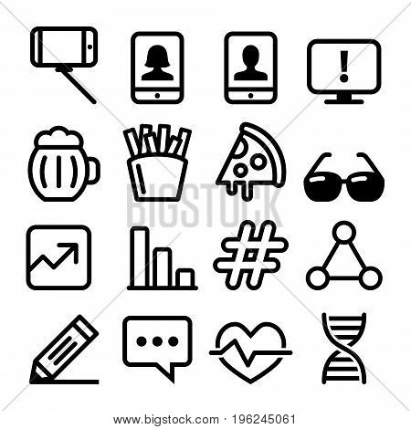Web line icons, Website navigation flat design icon collection - technology, selfie, food, medical designs