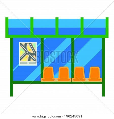 Modern bus stop with blue glass canopy, metal carcass, plastic seats and small map on wall isolated vector illustration on white background. Urban construction for comfortable transport waiting.