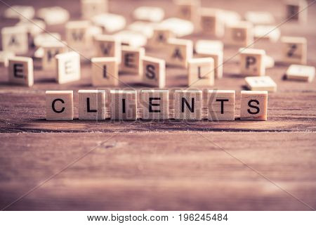 Business conceptual word collected of of wooden elements with the letters