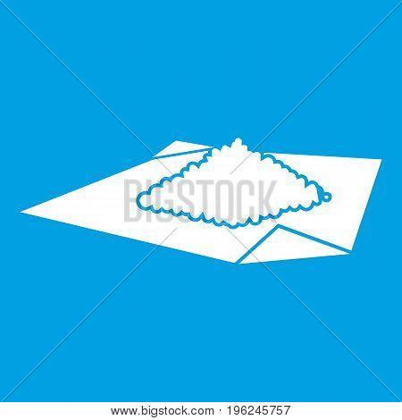 Powder marijuana icon white isolated on blue background vector illustration