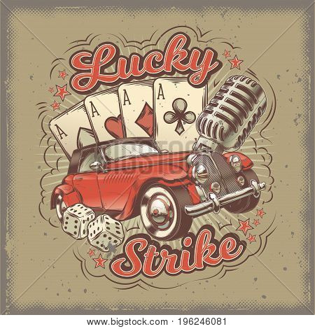 Vector grunge vintage illustration, poster with four card aces, retro car and old microphone. Print, template, design element