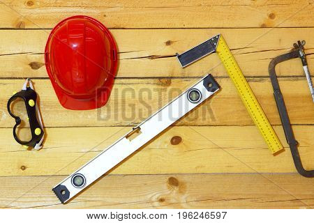 Industrial tools.Equipment background.Industrial tools on a wooden background wall.