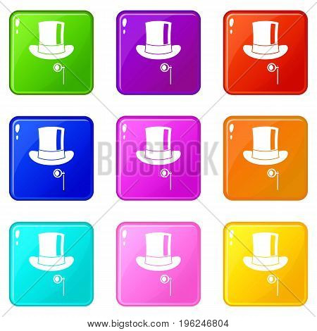 Hat with monocle icons of 9 color set isolated vector illustration