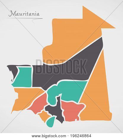 Mauritania Map With States And Modern Round Shapes