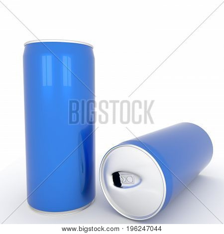 two blank aluminum blue cans on isolated white in 3D rendering