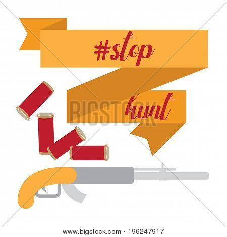 Stop hunting sign flat style with gun