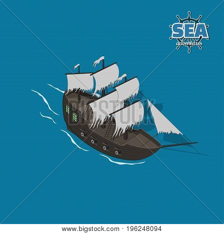 Sailer ghost on a blue background. Sailboat in isometric style. 3d illustration of ancient ship. Pirate game. Vector illustration