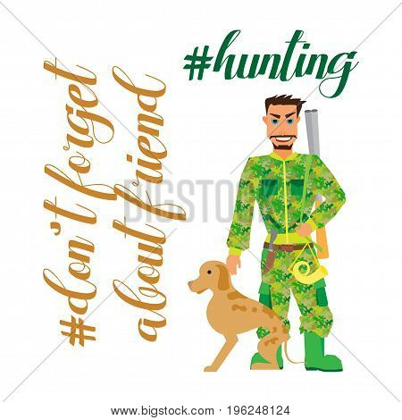 Hunter With Dog - flat Clipart vector Illustration