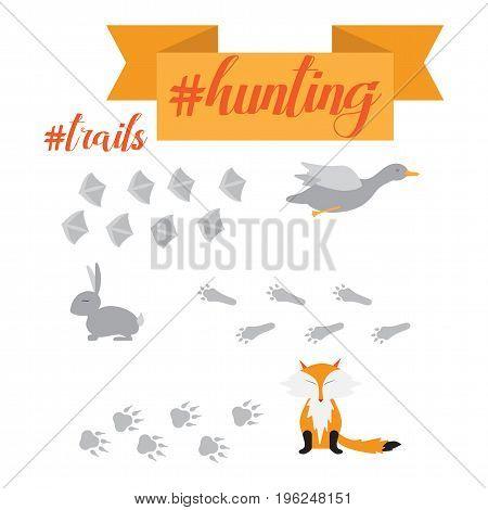 Duck fox and rabbit footprint vector illustration