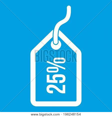 Tag with 25 discount icon white isolated on blue background vector illustration